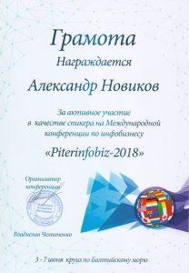 Грамота Александру Новикову за выступление на конференции Питеринфобиз 2018.